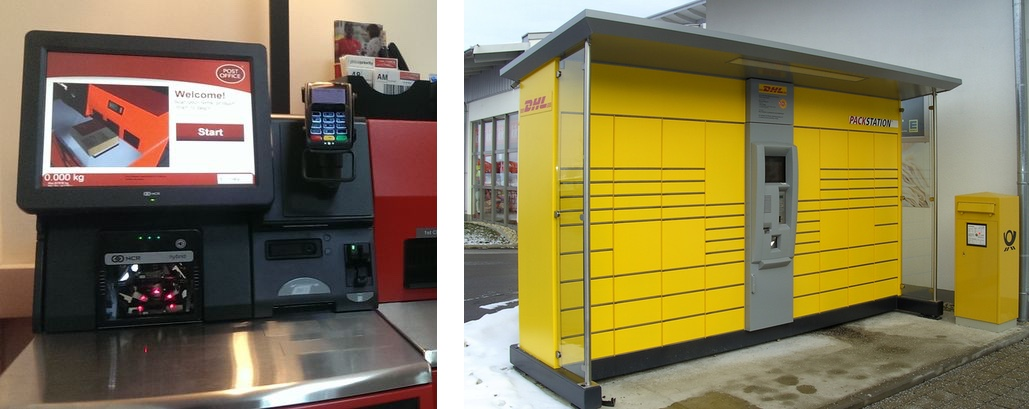 self-service kiosk as used by UK Post Office compared with DHL Germany's Packstation solution